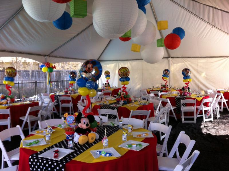 MICKEY AND MINNIE MOUSE BALLOON COLUMNS CLUBHOUSE DECORATIONS