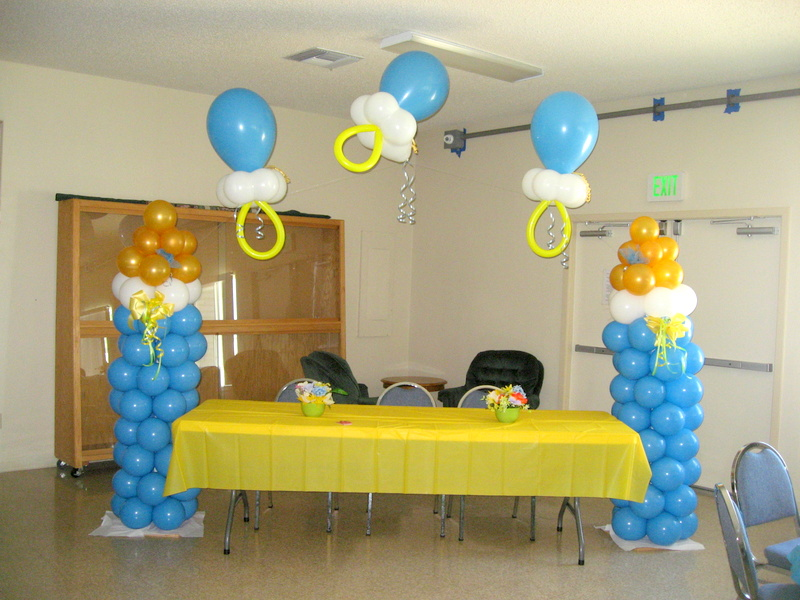 Balloon decor of central california baby for Baby bottle balloon decoration