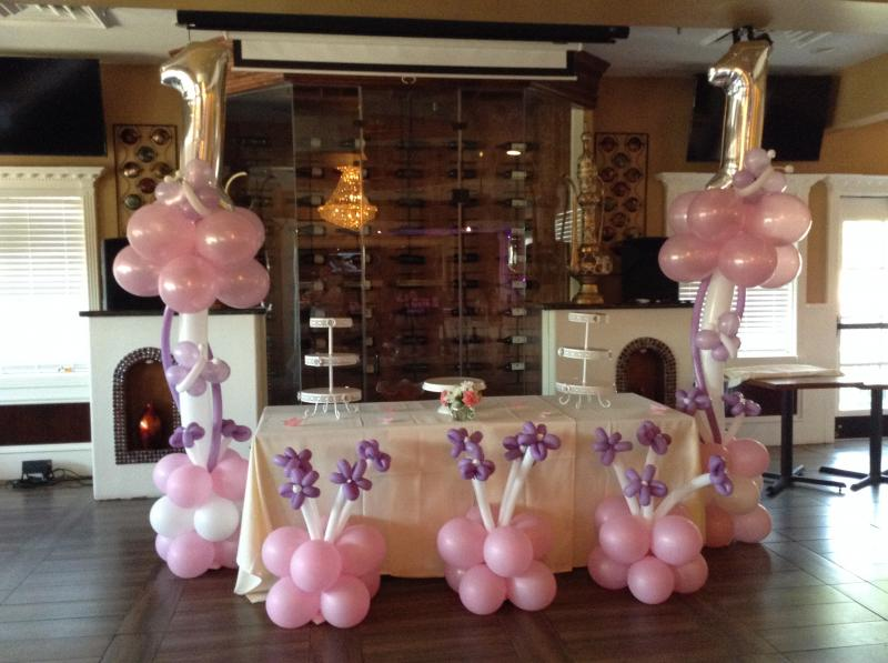 1ST BIRTHDAY PARTY WITH BALLOON BUTTERFILES AND FLOWERS AT ELEPHANT LOUNGE