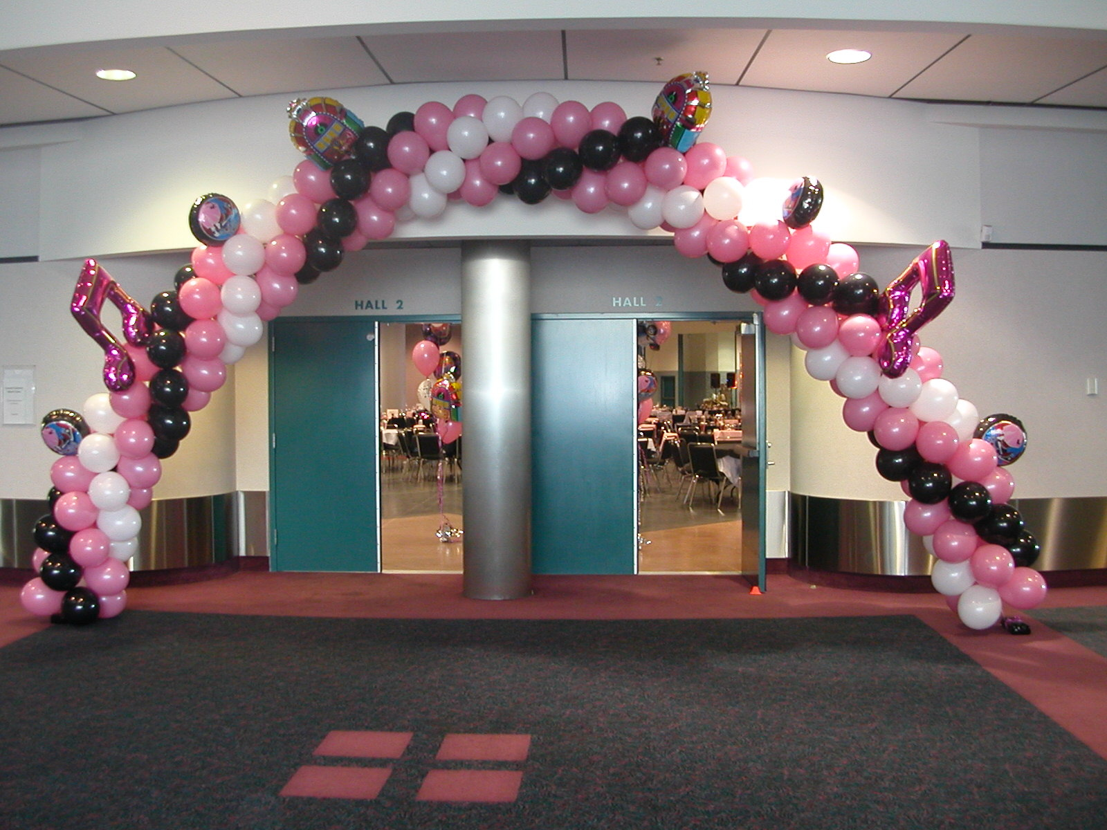 Balloon decor of central california entrance for 50s party decoration