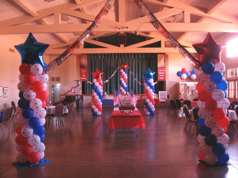 Balloon decor of central california patriotic for Air force decoration writing